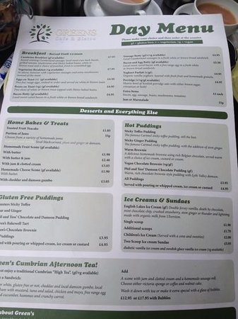 Greens Cafe & Bistro : Great menu (Also for coeliacs)