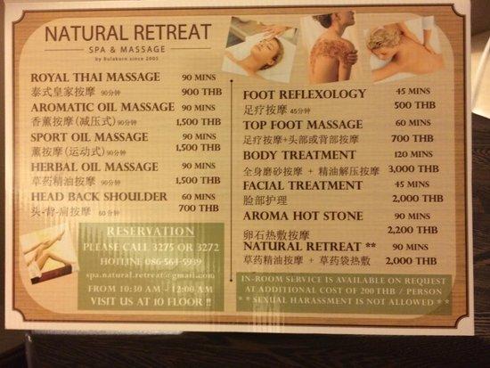The Berkeley Hotel Pratunam: Massage service available