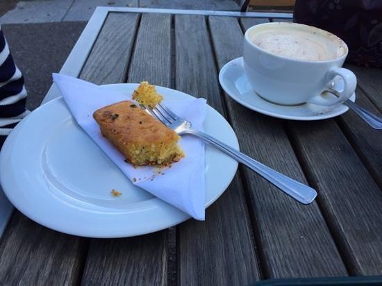 The Coach House: lemon polenta cake and cappuccino