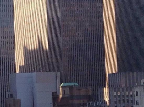 """The Gotham Hotel: Taken from our room on 23rd floor. """"The caped crusader is watching over us!"""""""