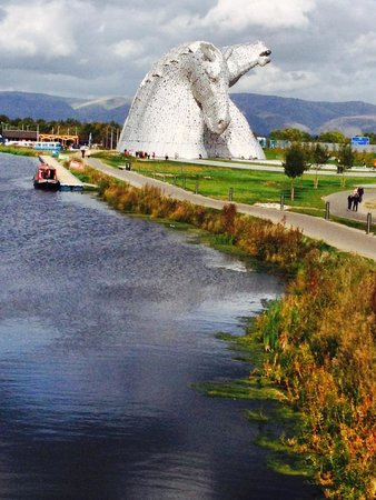 The Kelpies & The Helix: View from the canal lock