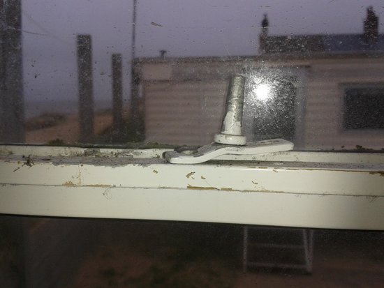 Eastern Beach Caravan Park: broken window casement stay