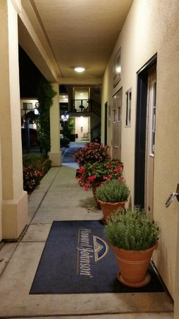 Howard Johnson Marina at Monterey Bay: Lobby entrance Begonias