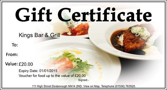 The Kings Arms: we now sell gift vouchers to use in our restaurant