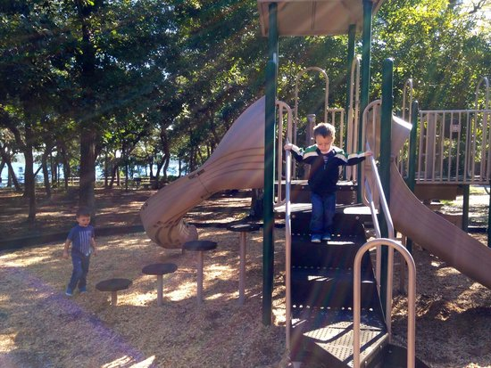 Fred Gannon Rocky Bayou State Park : Enjoying the playground on a nice cool Saturday!