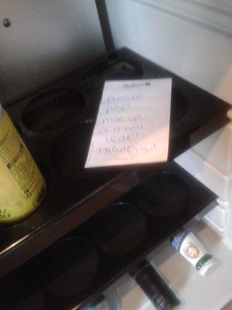 Radisson Blu Hotel, Leeds : Weird note in fridge
