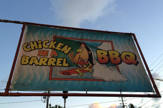 Chicken In A Barrel BBQ: The sign