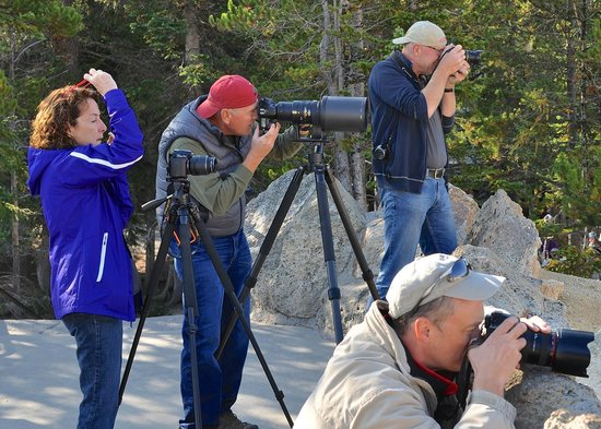 Artist Point: Photographers catching the rainbow in the falls