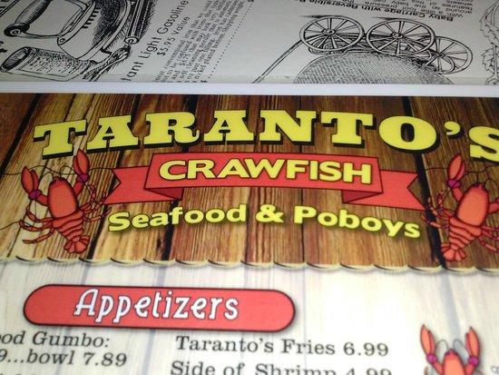 Taranto's Crawfish: picture of menu