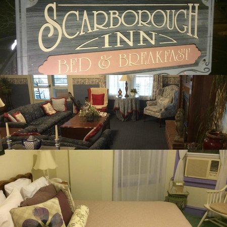 Scarborough Inn: Sign, lobby/living room area/Victoriana Room