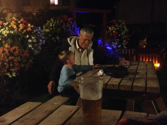 Tythe Cottage Restaurant: my son Zach and his great gramps