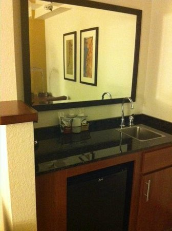 Hyatt Place San Antonio/Riverwalk: Wet bar with a refrigerator and sink