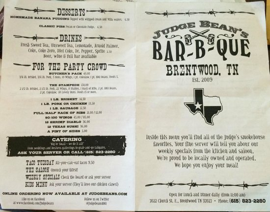 Judge Bean's BBQ: Front of Menu