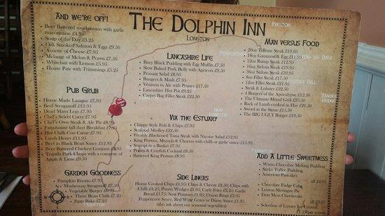 Dolphin Inn Longton Food Menu