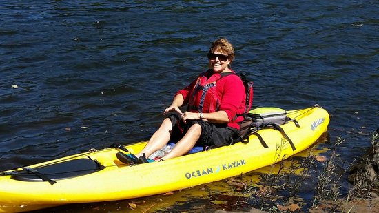 Coosa River Adventures,Inc: Shirley having a great time on the Coosa.