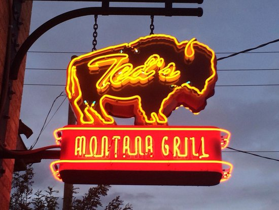 Ted's Montana Grill: I wish I could get one of these awesome signs for my basement - which I have only seen in Bozema