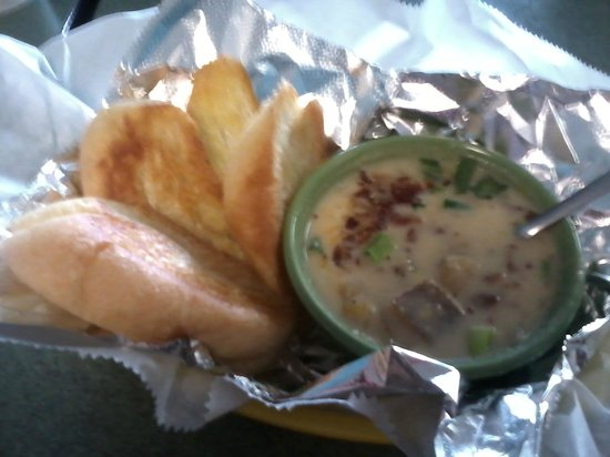 Blue Roof Grille: Loaded Potato Soup with fresh buttered bread