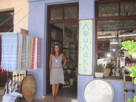 "Alonnisos, Greece: Claudia Tobias in front of her ""LOULAKI"" Store"