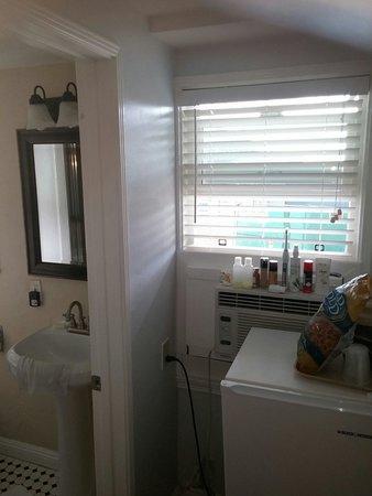 Bathroom Window Air Conditioner view of back window blockedair conditioner & small