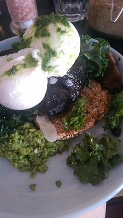 Bay Leaf Cafe: smashed peas with poached eggs & marinated mushrooms