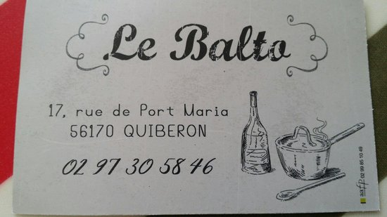 Le Balto Bistrot Brasserie Carte De Visite