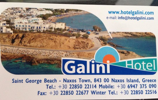 Hotel Galini : Business card
