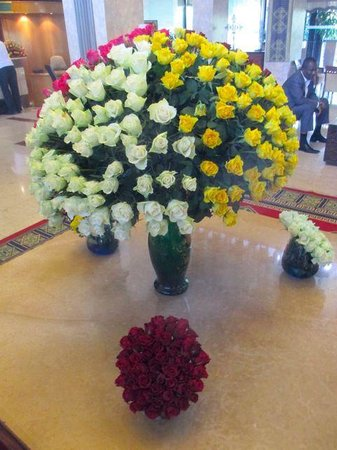 Hilton Addis Ababa: There are huge fresh flower bouquets in the lobby.
