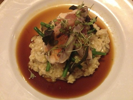 Kota Kai: Chicken wrapped in pancetta on risotto