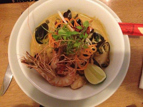 Kota Kai: Spicy Laksa soup with king prawns, mussels, fish, lemongrass, coconut & egg noodles