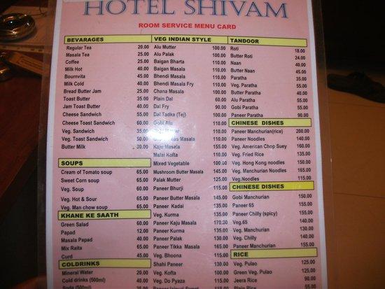 Hotel Shivam : Menu Card