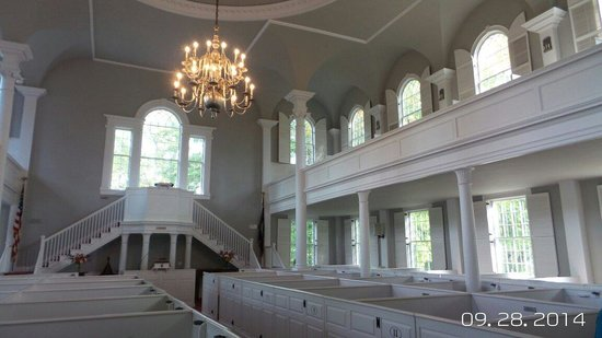 Old First Congregational Church: Box pews and upper seating inside church.