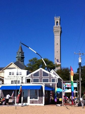 Pilgrim Monument & Provincetown Museum: Monument with Town Hall Steeple Saphire Sky
