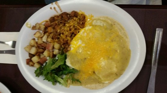 Cornerstone Bakery & Cafe Co: Huevos Rancheros with green chile sauce.  Delicious!