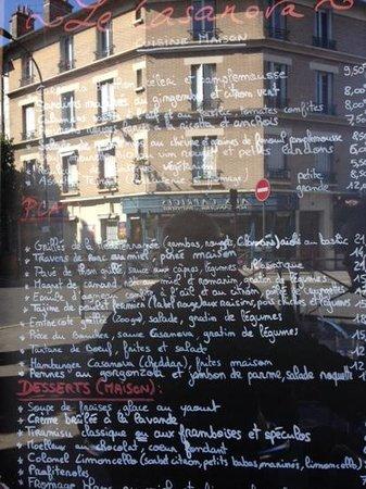 Le Casanova : la carte (avec le reflet du quartier!)
