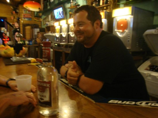 Big Kahuna Rum Shack : Manager Gus chatting with customers