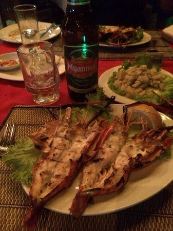 Angel Seafood Restaurant : King prawns washed down with a cold Myanmar beer.