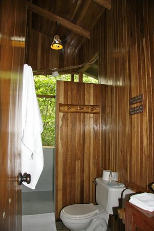bathroom with indoor/outdoor shower - picture of tree houses hotel