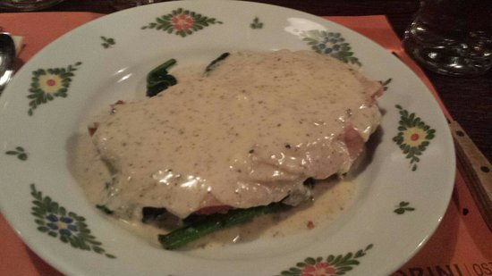 Osteria Morini: Crispy veal cutlet with prosciutto and spinach!