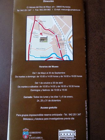 Museo Etnográfico de Cantabria: Horarios y dias