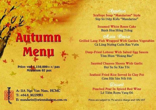 Nhà hàng Mandarine: Autumn Menu 2014