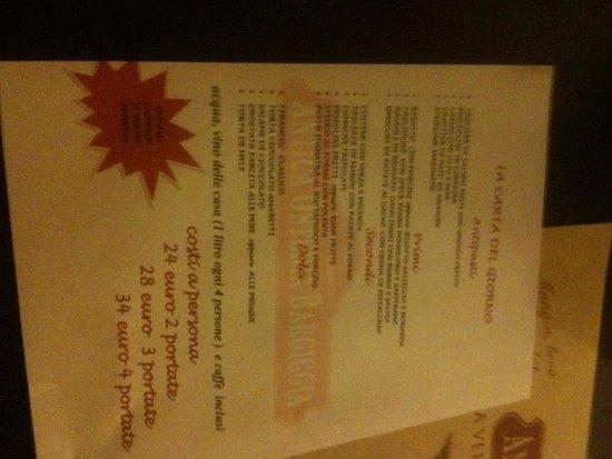 San Genesio ed Uniti, Italy: il menu del giorno