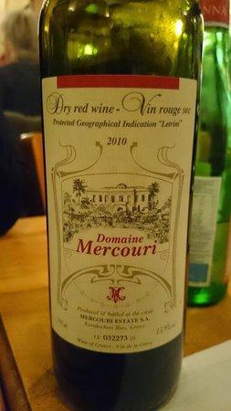 Le Lyrique: Un vin rouge du Péloponèse conseillé par le patron. Merveilleux