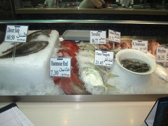L'wzaar Seafood Market: Fish in the market style display