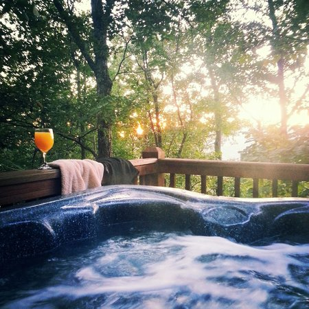 morning mimosa in the hot tub picture of avenair mtn