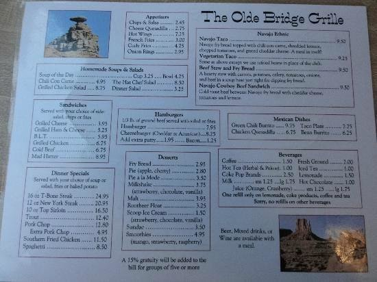 San Juan Inn & Trading Post: San Juan Inn breakfast menu