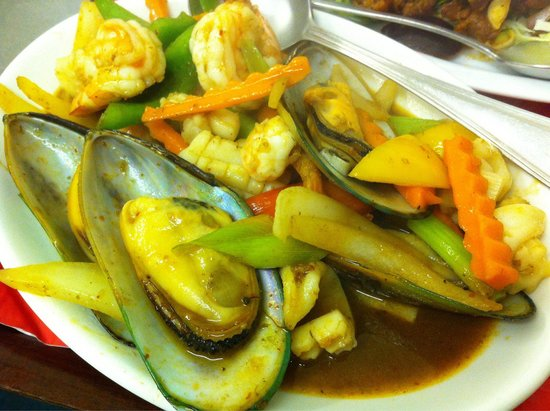 Thai Manor Restaurant: Seafood stir-fried with Thai style chilli oil