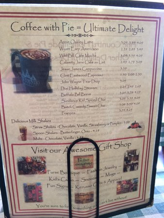 Pine Country Restaurant: Coffee menu