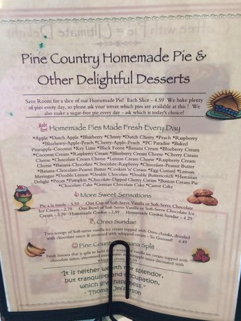 Pine Country Restaurant: Pie menu