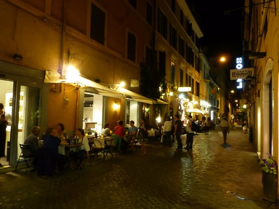 Condotti Hotel: The hotel is just past these restaurants.  Nice street.