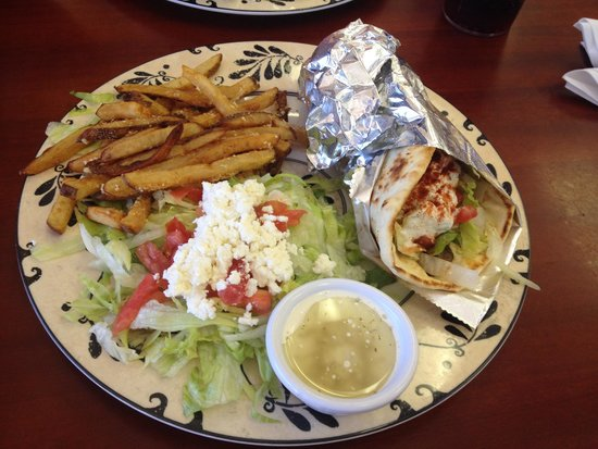 Sarah's Kabob Shop: Beef kabob with fries and salad